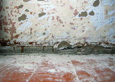 Ripped wall before renovation Royalty Free Stock Image