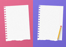 Ripped white ruled and grid notebook paper sheets are on colorful background with yellow pencil Royalty Free Stock Images