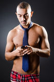 The ripped young man in studio concept Stock Photos