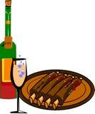 Rippen und Wein Stockfotos