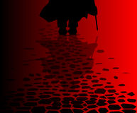 Ripper Reflection. The reflection of Jack the Ripper on the cobble streets of London Stock Photos