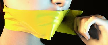 Whistleblower. Ripping away yellow tape from mouth gag Stock Images