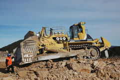 Ripping overburden. World's biggest bulldozer ripping overburden at Stockton Coal Mine, West Coast, South Island, New Zealand Stock Photo