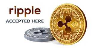 Ripple. Accepted sign emblem. Crypto currency. Golden and silver coins with Ripple symbol isolated on white background. 3D isometr. Ic Physical coins with text Royalty Free Stock Photo