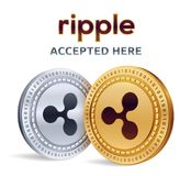Ripple. Accepted sign emblem. Crypto currency. Golden and silver coins with Ripple symbol  on white background. 3D isometr. Ic Physical coins with text Accepted Stock Photos