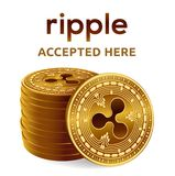 Ripple. Accepted sign emblem. Crypto currency. Stack of golden coins with Ripple symbol isolated on white background. 3D isometric. Physical coins with text Stock Image