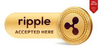 Ripple accepted sign emblem. 3D isometric Physical coin with frame and text Accepted Here. Cryptocurrency. Golden coin with Ripple. Symbol isolated on white Royalty Free Stock Photo