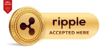 Ripple accepted sign emblem. 3D isometric Physical coin with frame and text Accepted Here. Cryptocurrency. Golden coin. With Ripple symbol isolated on white Stock Photo