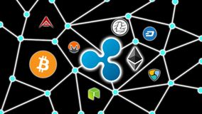 Ripple Black Background, Cryptocurrency Blockchain Network. Cryptocurrency concept background show network of coins, various connectings through blockchain Stock Photos