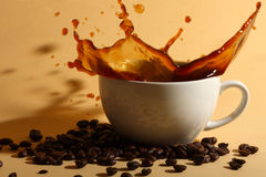 Ripple coffee. In the white cup Royalty Free Stock Image