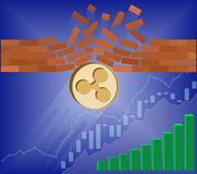 Ripple coin breaks through the wall resistance. With growth chart on a blue background , the price of crypto currency is rising , vector image design concept Stock Photo