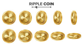 Ripple Coin 3D Gold Coins Vector Set. Realistic. Flip Different Angles. Digital Currency Money. Investment Concept Stock Photo