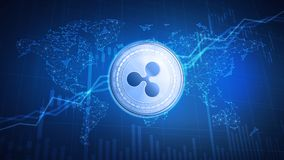 Ripple coin on hud background with bull stock chart. Royalty Free Stock Photo
