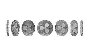 Ripple coin shown from seven angles isolated on white background. Easy to cut out and use particular coin angle. 3D rendering royalty free illustration