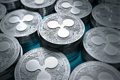 Ripple coins XRP in blurry closeup. New cryptocurrency concept. Ripple coins XRP in blurry closeup. New cryptocurrency and modern banking concept. 3D rendering vector illustration