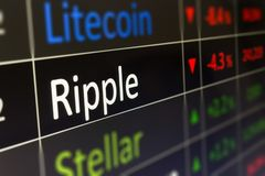 Ripple crypto currency trading and monitoring XRP values on trad. Ing chart of exchange screen. Closeup of financial buying and selling of Ripple. Copy space royalty free stock image