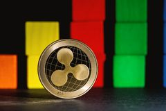 Ripple cryptocurrency coin. With blocks for blockchain theme Royalty Free Stock Photography