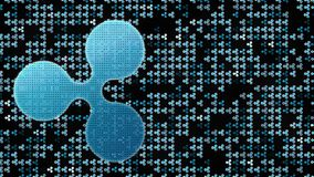 Ripple cryptocurrency on the cyberspase blockchain flickering background 4K loopable 3D rendering. vector illustration