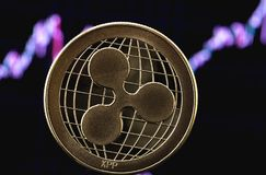 Ripple cryptocurrency. On the chart background stock image