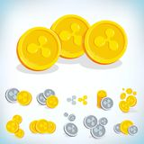 Ripple. 2D cartoon coin. Digital currency. Cryptocurrency. Golden coins with symbol isolated on white background. Stock. Vector illustration Royalty Free Stock Photos