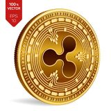 Ripple. 3D isometric Physical coin. Digital currency. Crypto currency. Golden coin with Ripple symbol  on white. Background. Block chain. Vector illustration Stock Photos