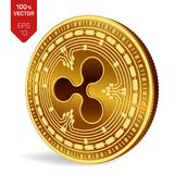 Ripple. 3D isometric Physical coin. Digital currency. Cryptocurrency. Golden coin with Ripple symbol on white background. Ripple. 3D isometric Physical coin Stock Photo