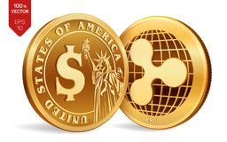 Ripple. Dollar coin. 3D isometric Physical coins. Digital currency. Cryptocurrency. Golden coins with Ripple and Dollar symbol iso. Lated on white background Royalty Free Stock Photography