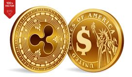 Ripple. Dollar coin. 3D isometric Physical coins. Digital currency. Cryptocurrency. Golden coins with Ripple and Dollar symbol iso. Lated on white background Stock Images