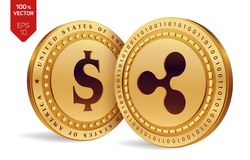 Ripple. Dollar coin. 3D isometric Physical coins. Digital currency. Cryptocurrency. Golden coins with Ripple and Dollar symbol iso. Lated on white background Stock Image