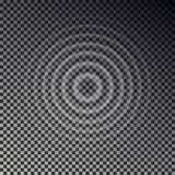 Ripple effect top view. Transparent Water drop rings. Circle sound wave isolated on checkered backgr. Ound. Vector round effect. Texture illustration royalty free illustration