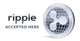 ripple Emblema aceitado do sinal Moeda cripto Moeda de prata com símbolo da ondinha isolada no fundo branco exame 3D isométrico ilustração royalty free