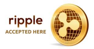 ripple Emblema aceitado do sinal Moeda cripto Moeda dourada com símbolo da ondinha isolada no fundo branco 3D isométrico ilustração stock