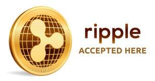 ripple Emblema aceitado do sinal Moeda cripto Moeda dourada com símbolo da ondinha isolada no fundo branco exame 3D isométrico ilustração stock