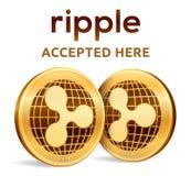 ripple Emblema aceitado do sinal Moeda cripto Moedas douradas com símbolo da ondinha isoladas no fundo branco exame 3D isométrico ilustração royalty free