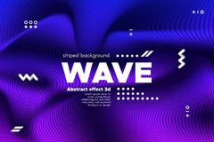 Ripple of Flowing Lines Concept. 3d Abstract. Ripple of Wave Surface Concept. 3d Linear Template with Movement. Purple Abstract Background with Distortion of stock illustration