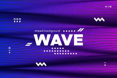 Ripple of Flowing Lines Concept. 3d Abstract. Ripple of Wave Surface Concept. 3d Linear Template with Movement. Purple Abstract Background with Distortion of vector illustration
