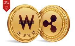 ripple ganhado moedas 3D físicas isométricas Moeda de Digitas Coreia ganhou a moeda Cryptocurrency Moedas douradas com ondinha e  ilustração stock