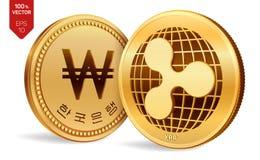 ripple ganhado moedas 3D físicas isométricas Moeda de Digitas Coreia ganhou a moeda Cryptocurrency Moedas douradas com ondinha e  ilustração royalty free