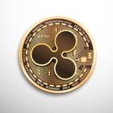 Ripple golden coin. Vector eps10 isolated illustration. Ripple golden coin. Isolated detailed vector illustration on white background stock illustration