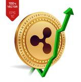 Ripple. Growth. Green arrow up. Ripple index rating go up on exchange market. Crypto currency. 3D isometric Physical Golden coin i. Solated on white background Stock Photography