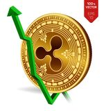 Ripple. Growth. Green arrow up. Ripple index rating go up on exchange market. Crypto currency. 3D isometric Physical Golden coin i. Solated on white background Stock Photos