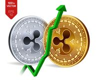 Ripple. Growth. Green arrow up. Ripple index rating go up on exchange market. Crypto currency. 3D isometric Physical. Golden and silver coins isolated on white Stock Images