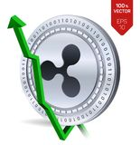 Ripple. Growth. Green arrow up. Ripple index rating go up on exchange market. Crypto currency. 3D isometric Physical Silver coin i. Solated on white background Royalty Free Stock Image