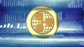 Ripple logo, digital coin, online currency gaining attention and popularity, bitcoin rival. Ripple, digital crypto currency market value rising - symbolized by a Royalty Free Stock Photos
