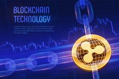 ripple Moeda cripto Corrente de bloco bitcoin 3D dourado físico isométrico com a corrente do wireframe no fundo financeiro azul b ilustração do vetor