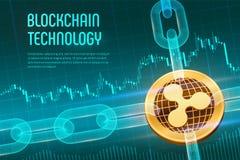 ripple Moeda cripto Corrente de bloco bitcoin 3D dourado físico isométrico com a corrente do wireframe no fundo financeiro azul b ilustração royalty free