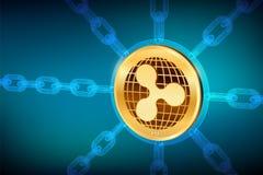 ripple Moeda cripto Corrente de bloco moeda física isométrica da ondinha 3D com corrente do wireframe Conceito de Blockchain ilustração royalty free