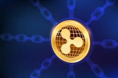 ripple Moeda cripto Corrente de bloco moeda física isométrica da ondinha 3D com corrente do wireframe Conceito de Blockchain Cryp ilustração royalty free