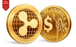 ripple Moeda do dólar moedas 3D físicas isométricas Moeda de Digitas Cryptocurrency Moedas douradas com iso do símbolo da ondinha ilustração royalty free