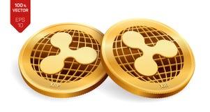 ripple moedas 3D físicas isométricas Moeda de Digitas Moeda cripto Moedas douradas com símbolo da ondinha isoladas no backgrou br ilustração stock